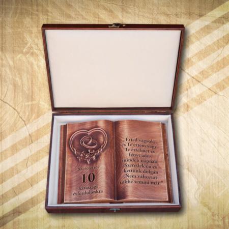 10. házassági évfordulóra egyedi fakönyv-Mívesfa