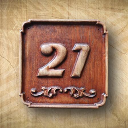 Házszámtábla fából 21 Mívesfa