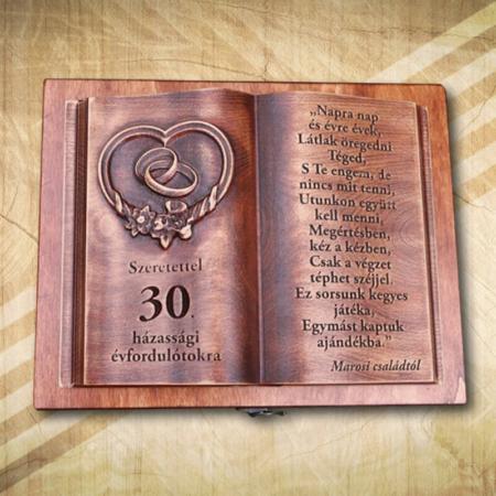 30. házassági évfordulóra egyedi fakönyv