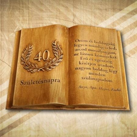 40. születésnapra ajándék fakönyv