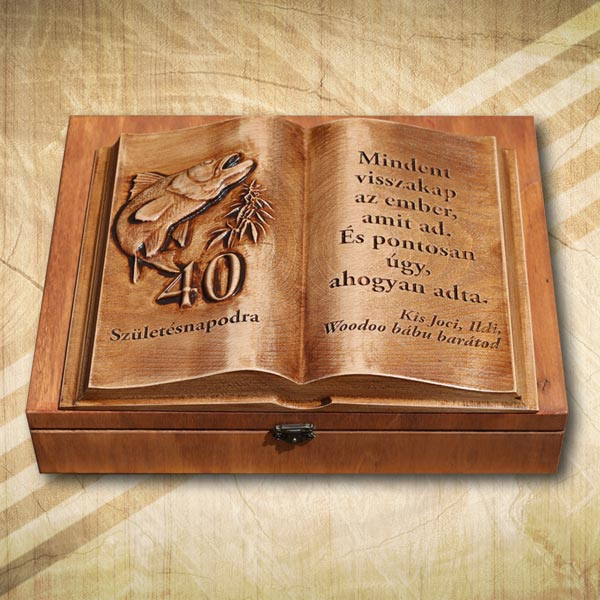 40 éves horgásznak születésnapi ajándék fakönyv