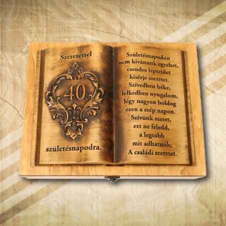 Ajándék fakönyv 40. születésnapra a családtól