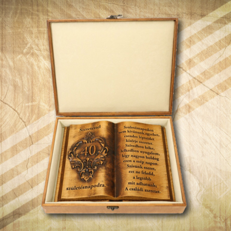 Ajándék fakönyv 40. születésnapra díszdobozban