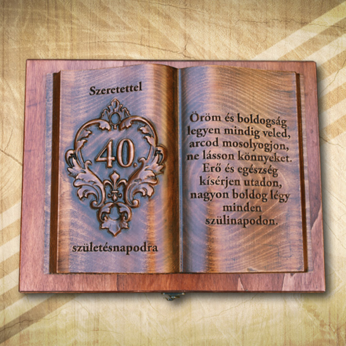 Ajándék fakönyv 40. születésnapra