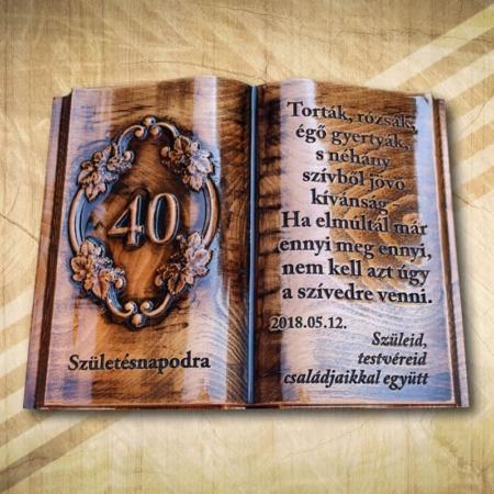 40. szülinapi ajándék fakönyv