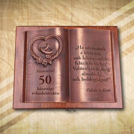 50. házassági évfordulóra fakönyv egyedi idézettel