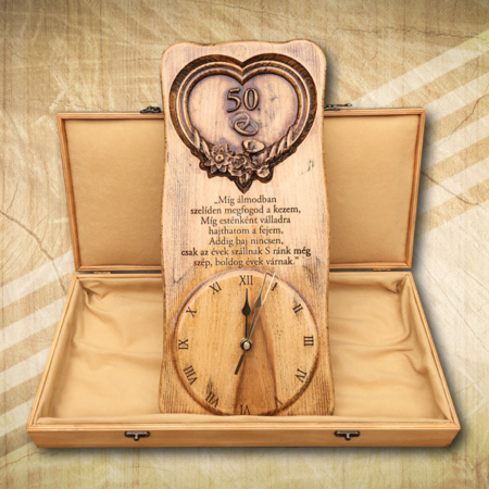 50. házassági évfordulóra falióra díszdobozban-Mívesfa