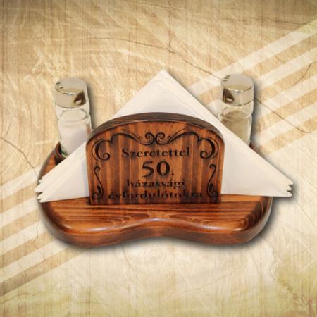 50. házassági évfordulóra díszes szalvétatartó