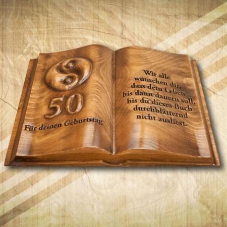 50. születésnapra ajándék fakönyv díszdobozban német