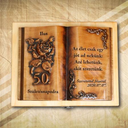 50. születésnapra ajándék fakönyv Hölgyeknek