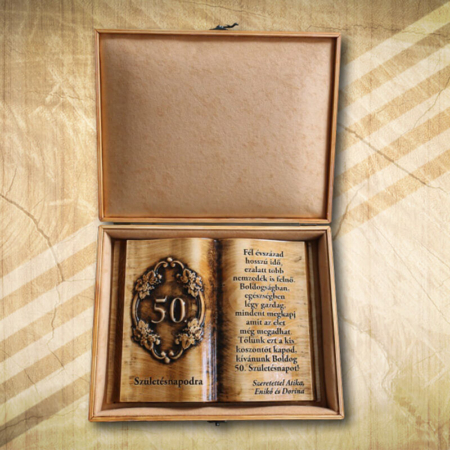 50 éves születésnaposnak fakönyv díszdobozban