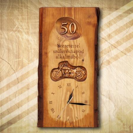 50 születésnapra egyedi falióra motorosnak
