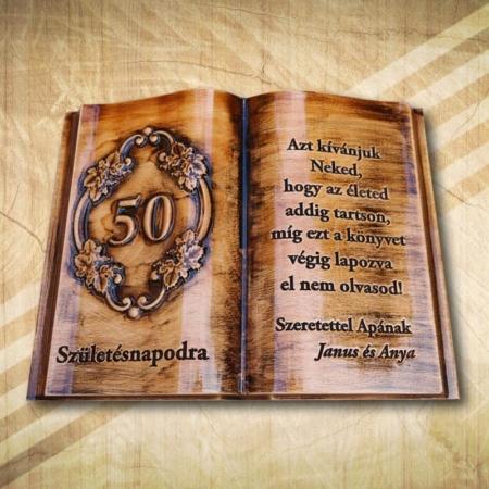 50. születésnapi ajándék fakönyv