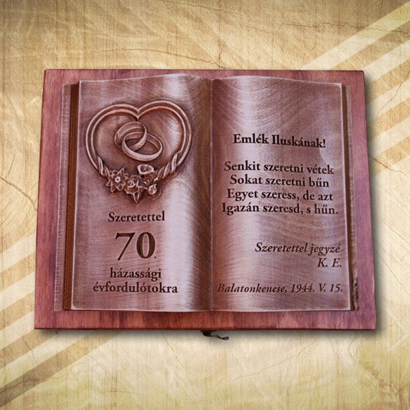 70. házassági évfordulóra fakönyv