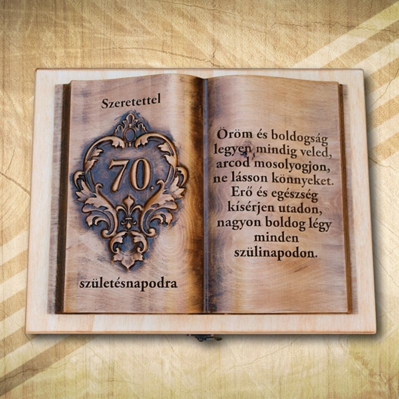 Ajándék fakönyv 70. születésnapra biankó