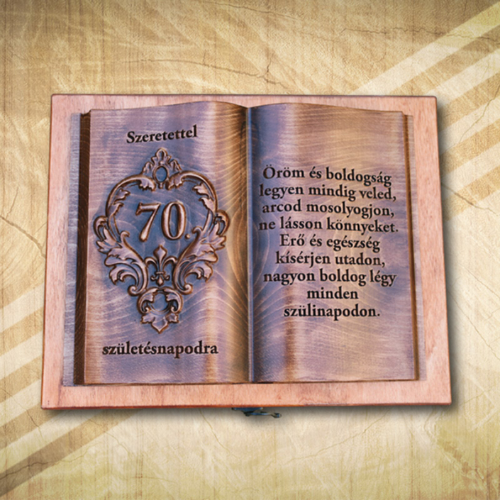 Ajándék fakönyv 70. születésnapra fényes Öröm2