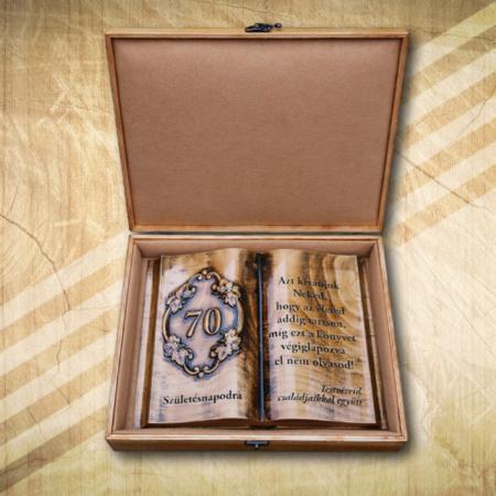 70. születésnapi ajándék fakönyv testvérnek