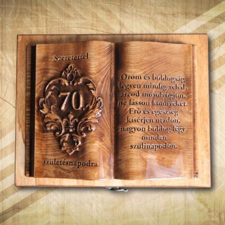 Ajándék fakönyv 70. születésnapra biankó fényes