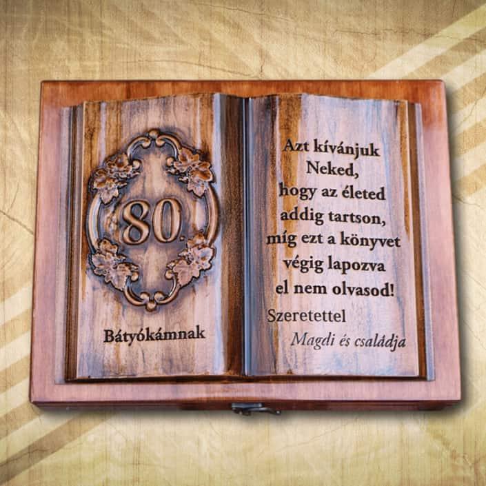 80. szülinapra ajándék fakönyv