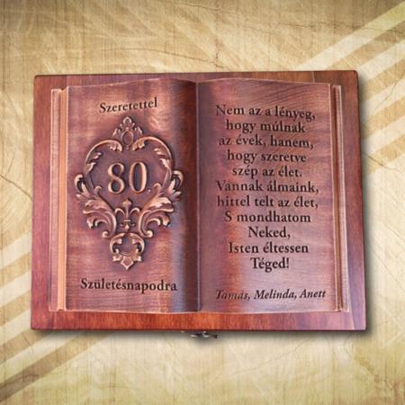 80 éves szülinapra ajándék fakönyv