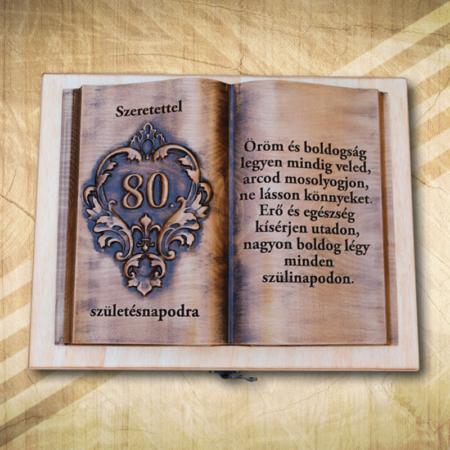 Ajándék fakönyv 80. születésnapra biankó