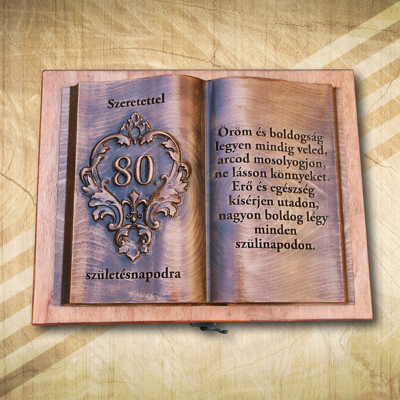 80. születésnapra fakönyv