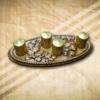 Tölgy mintás asztaldisz arany gyertyával
