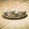 Tölgy mintás asztaldisz ezüst gyertyával