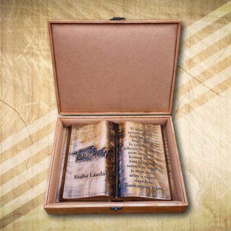 Céges ajándék fakönyv díszdobozban