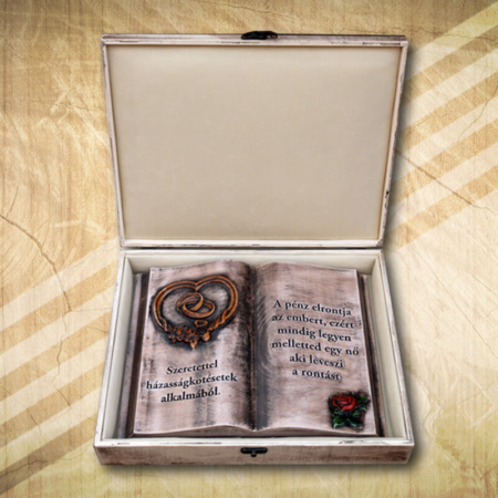 Vintage fakönyv esküvőre rózsamintával-Mívesfa