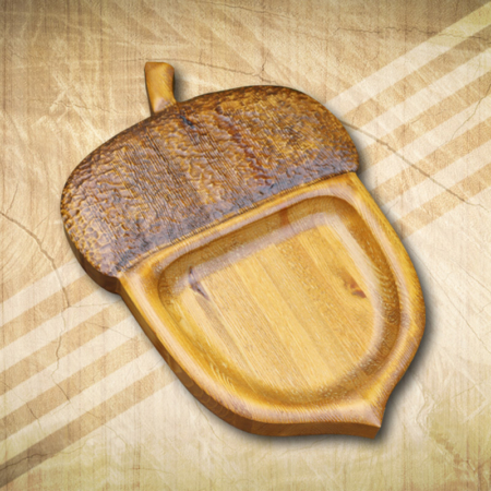 Makk formájú kínáló tálca fából