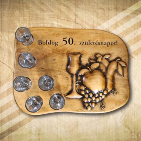 Pálinkás pohárkészlet 50. születésnapra-Mívesfa