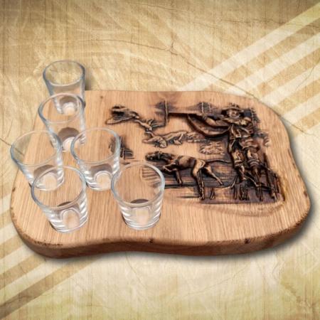 Ajándék vadászoknak pálinkás készlet 6 pohárral